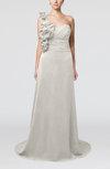 Elegant A-line Asymmetric Neckline Zip up Flower Bridesmaid Dresses
