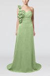 Elegant A-line Asymmetric Neckline Zip up Flower Bridesmaid Dresses