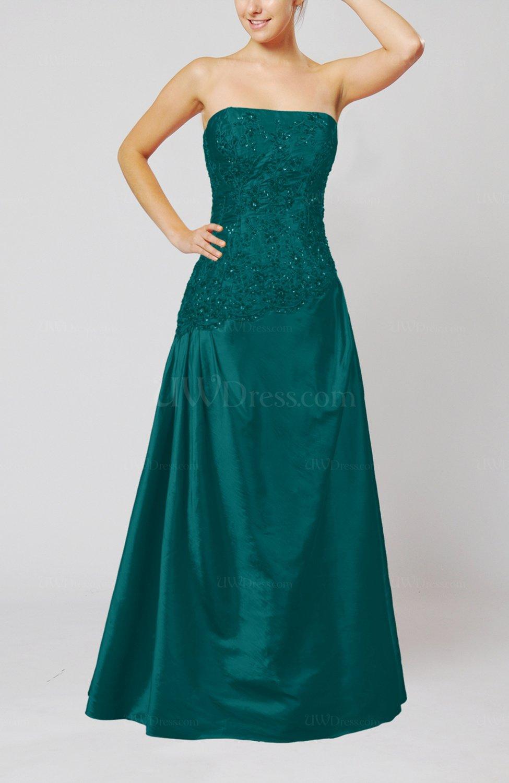 782fc41c8a06d Emerald Green Vintage A-line Strapless Taffeta Floor Length Prom Dresses  (Style D61565)