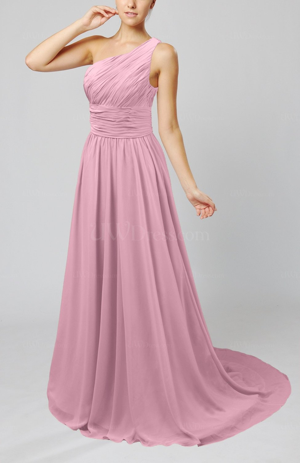 dd2a1197e8 Cinderella Asymmetric Neckline Sleeveless Half Backless Court Train  Bridesmaid Dresses