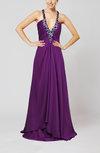 Glamorous Zipper Chiffon-Satin Sweep Train Rhinestone Evening Dresses