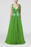 Mature A-line V-neck Backless Paillette Prom Dresses