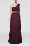 Modest One Shoulder Half Backless Chiffon Beading Evening Dresses