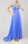 Informal Halter Sleeveless Zip up Chiffon Ankle Length Prom Dresses