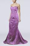 Sexy Zipper Satin Sweep Train Paillette Prom Dresses