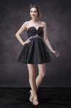 Cute Sweetheart Zip up Taffeta Short Beading Wedding Guest Dresses