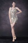Modern Column Halter Zip up Paillette Prom Dresses