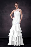 Sexy Trumpet One Shoulder Sleeveless Lace up Appliques Wedding Guest Dresses