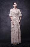 Modest Half Length Sleeve Zipper Paillette Wedding Guest Dresses