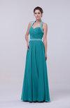 Elegant Column Halter Zip up Chiffon Prom Dresses