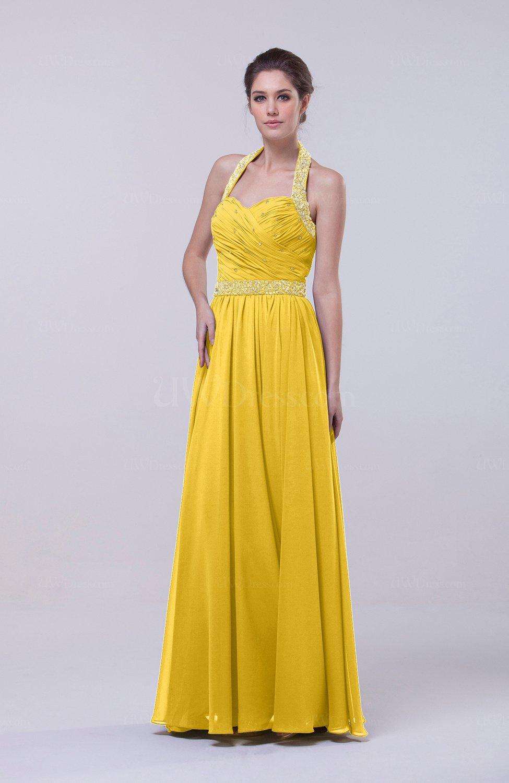 60f229e53ada Yellow Elegant Column Halter Zip up Chiffon Prom Dresses (Style D90018)