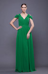 Elegant Sheath V-neck Chiffon Brush Train Prom Dresses