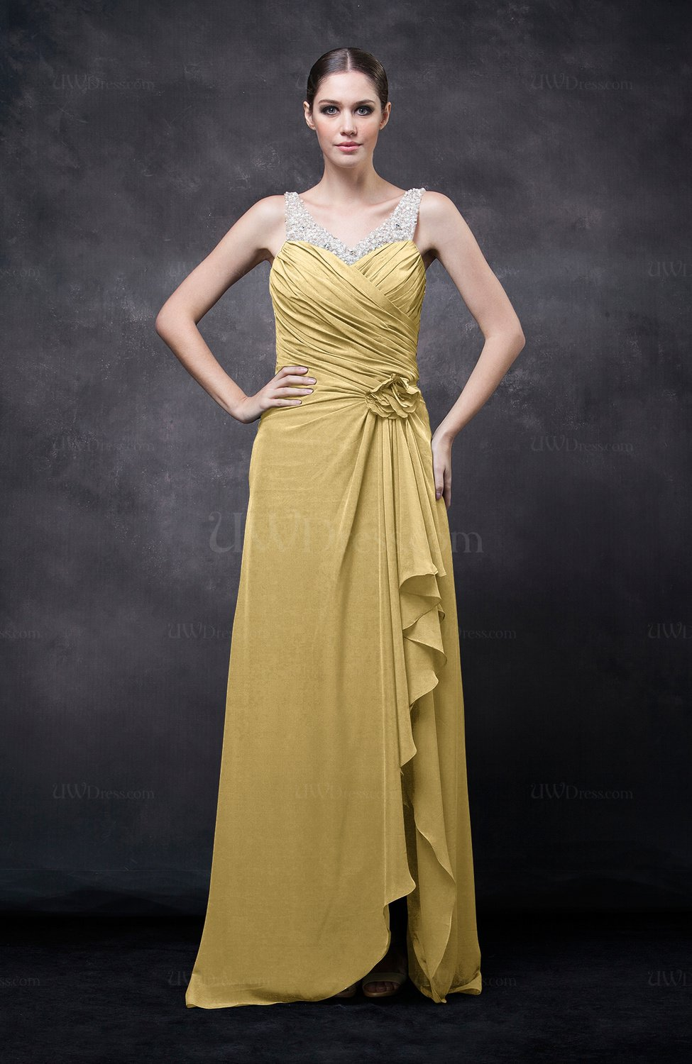 Gold Romantic Illusion Backless Chiffon Flower Wedding Guest Dresses