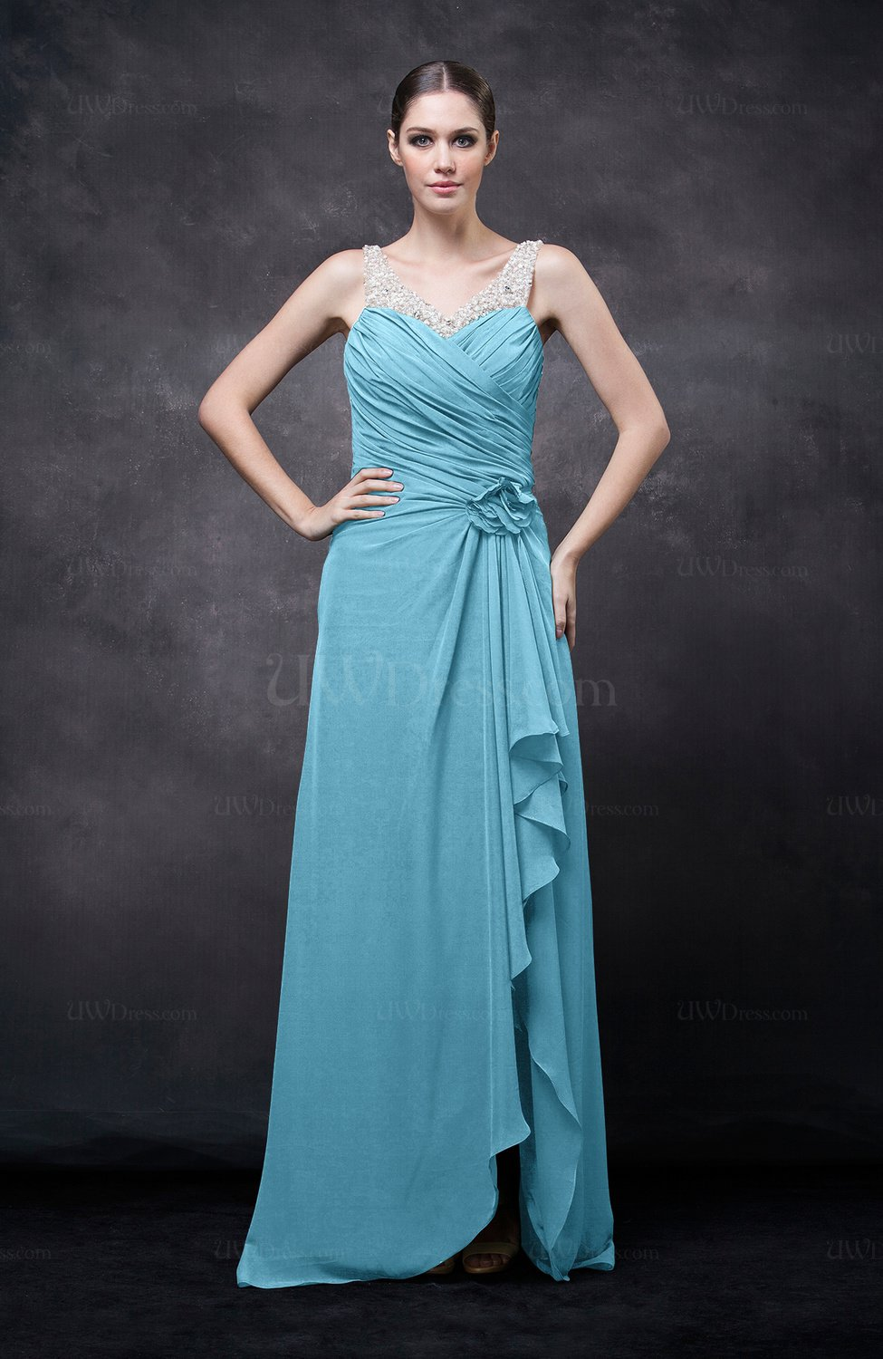 Light Blue Romantic Illusion Backless Chiffon Flower Wedding Guest Dresses