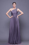 Modest Asymmetric Neckline Sleeveless Chiffon-Satin Floor Length Prom Dresses