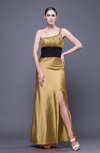 Traditional Sheath Asymmetric Neckline Ankle Length Sequin Evening Dresses