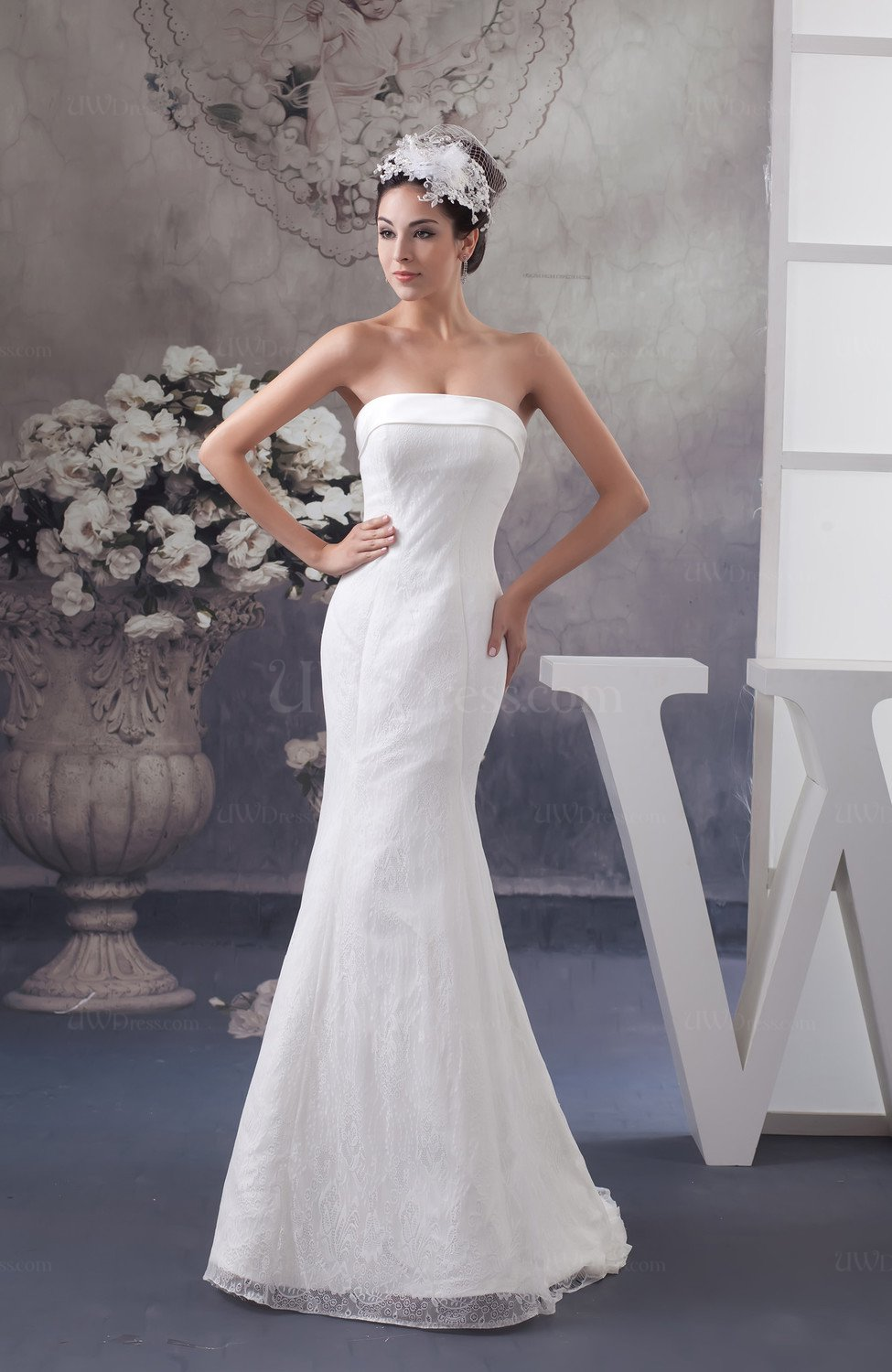 sleeveless wedding dresses mermaid bridal gowns low back backless glamorous 7546