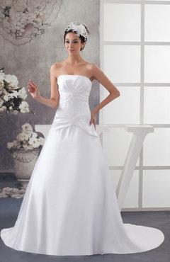 482dae84979ab White Allure Bridal Gowns Inexpensive Strapless Spring Fall Sleeveless Satin