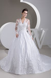 Lace Bridal Gowns with Sleeves Sexy Long Sleeve Illusion Full Figure