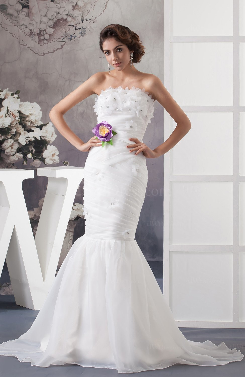 White Mermaid Bridal Gowns Allure Winter Elegant Backless