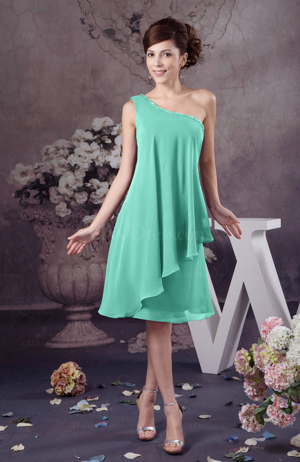 6407a1c092108 Mint Green Chiffon Bridesmaid Dress One Shoulder Full Figure Informal  Formal Modern (Style D89665)