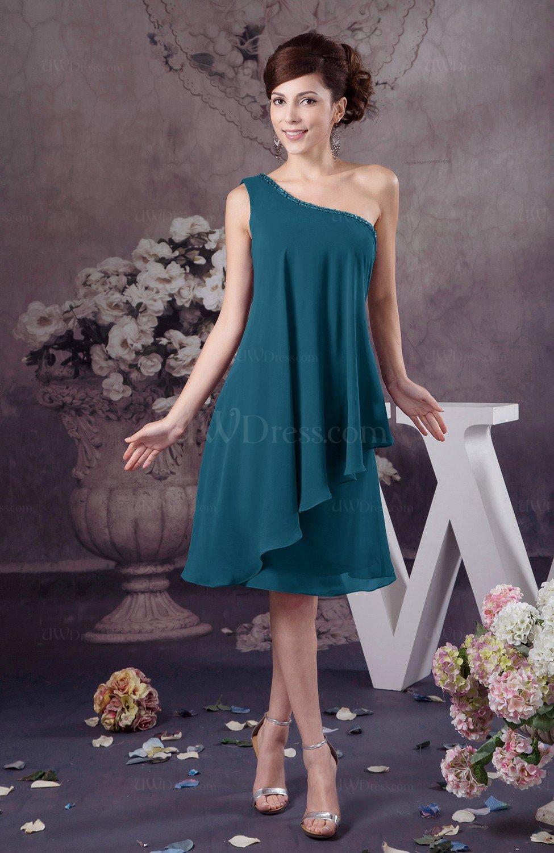 Moroccan Blue Chiffon Bridesmaid Dress One Shoulder Full Figure Informal Formal Modern