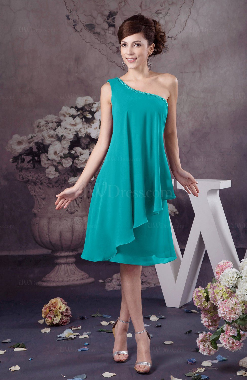 d368c0de6ff Peacock Blue Chiffon Bridesmaid Dress One Shoulder Full Figure Informal  Formal Modern (Style D89665)