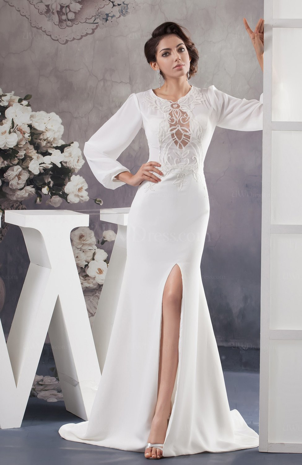 With Sleeves Bridal Gowns Inexpensive Long Sleeve Unique