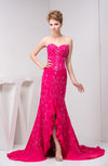 Long Mother of the Bride Dress Inexpensive Split Front Hi Low Beading Tight