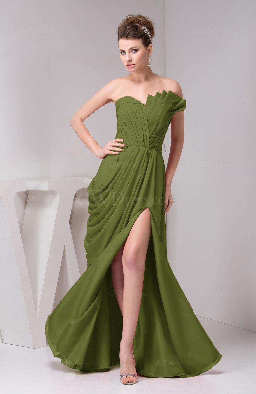 Olive Green Chiffon Bridesmaid Dress Unique Destination