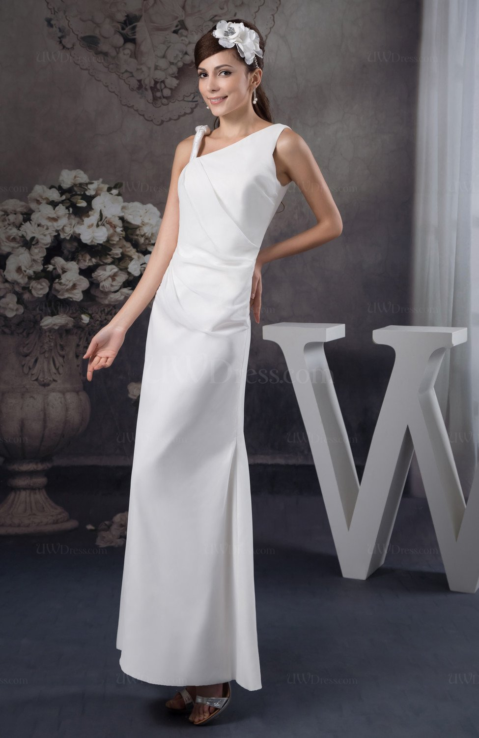 White Country Bridesmaid Dress Beach Ankle Length Plain