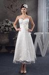 Tea Length Bridesmaid Dress Lace Classic Garden A line Formal Natural
