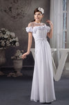 Chiffon Bridesmaid Dress with Sleeves Luxury Illusion Off the Shoulder