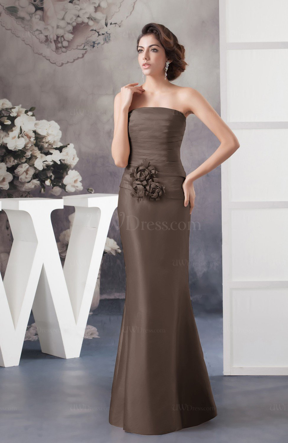 e9d3e609d7 Chestnut Brown Affordable Bridesmaid Dress Inexpensive Taffeta Outdoor  Tight Classy Garden (Style D86610)