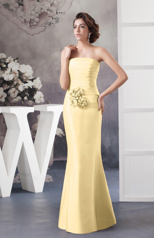Light Yellow Affordable Bridesmaid Dress Inexpensive Taffeta Outdoor Cly Garden