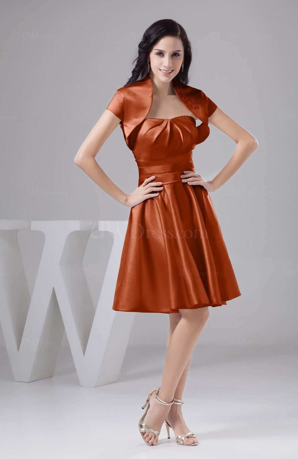 Rust Inexpensive Bridesmaid Dress Affordable A line Plus Size ...