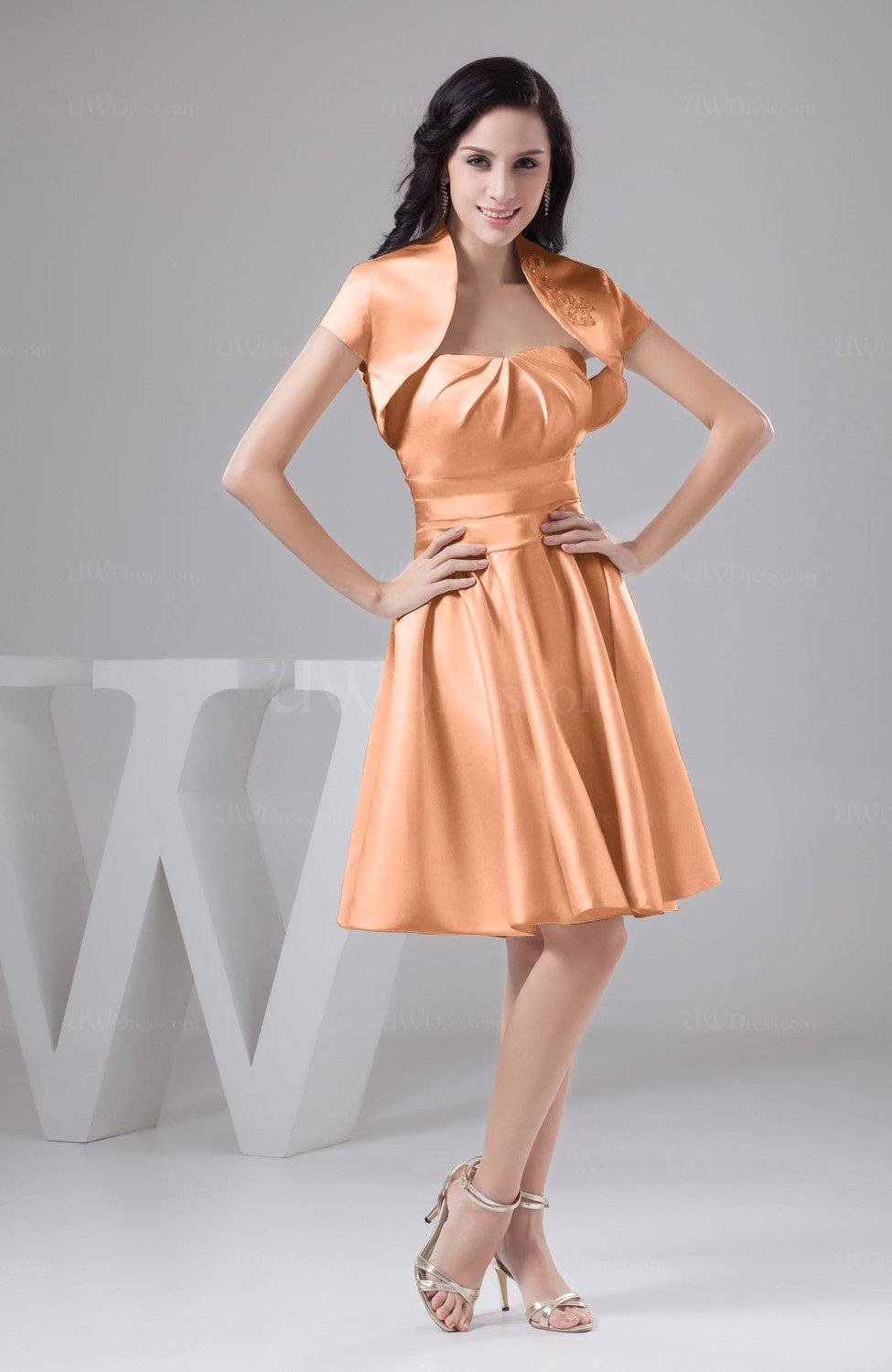 Salmon Inexpensive Bridesmaid Dress Affordable A line Plus Size ...