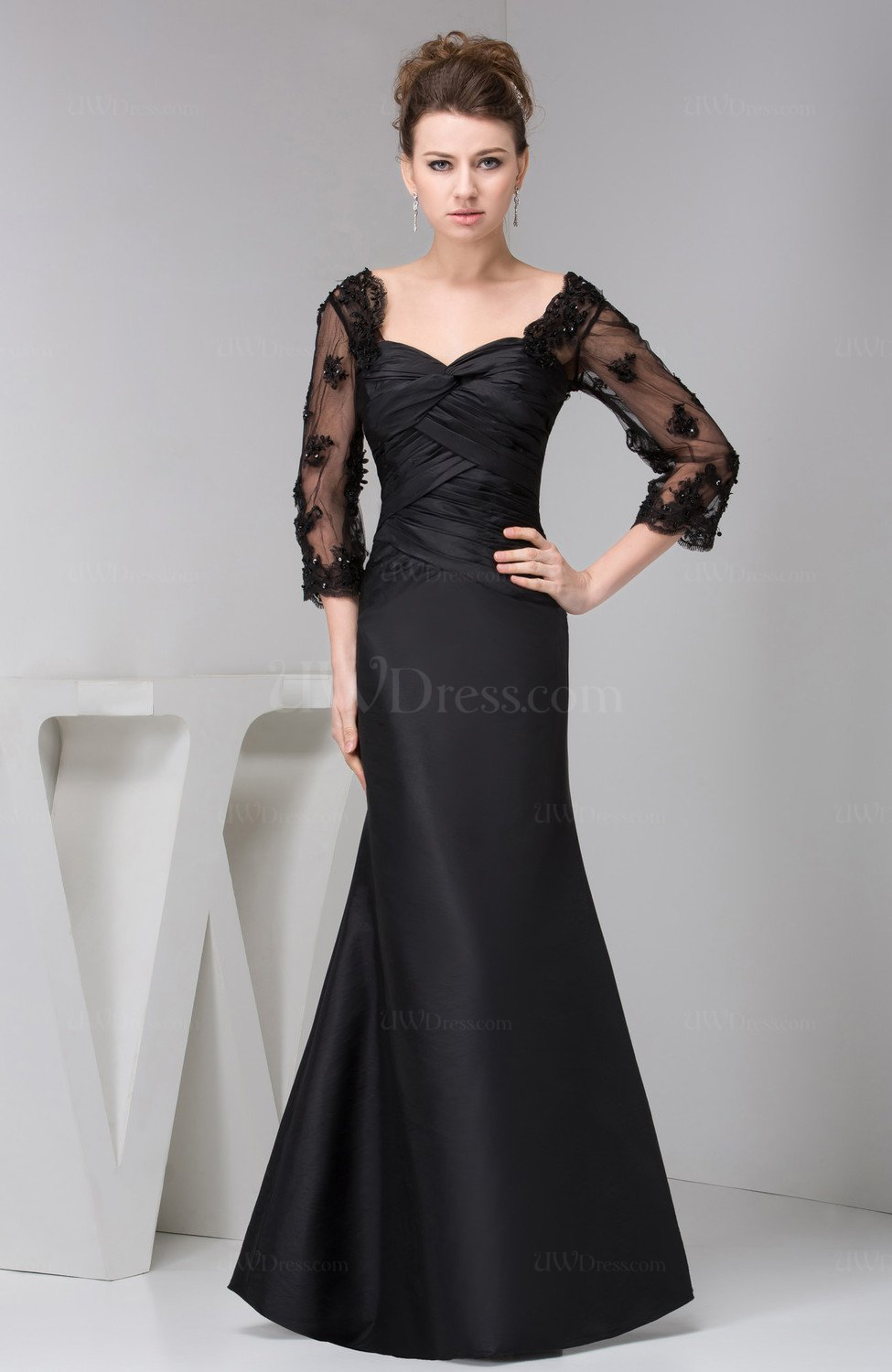12 Awesome Formal Traditional: Black Long Sleeve Party Dress Lace Traditional Tight