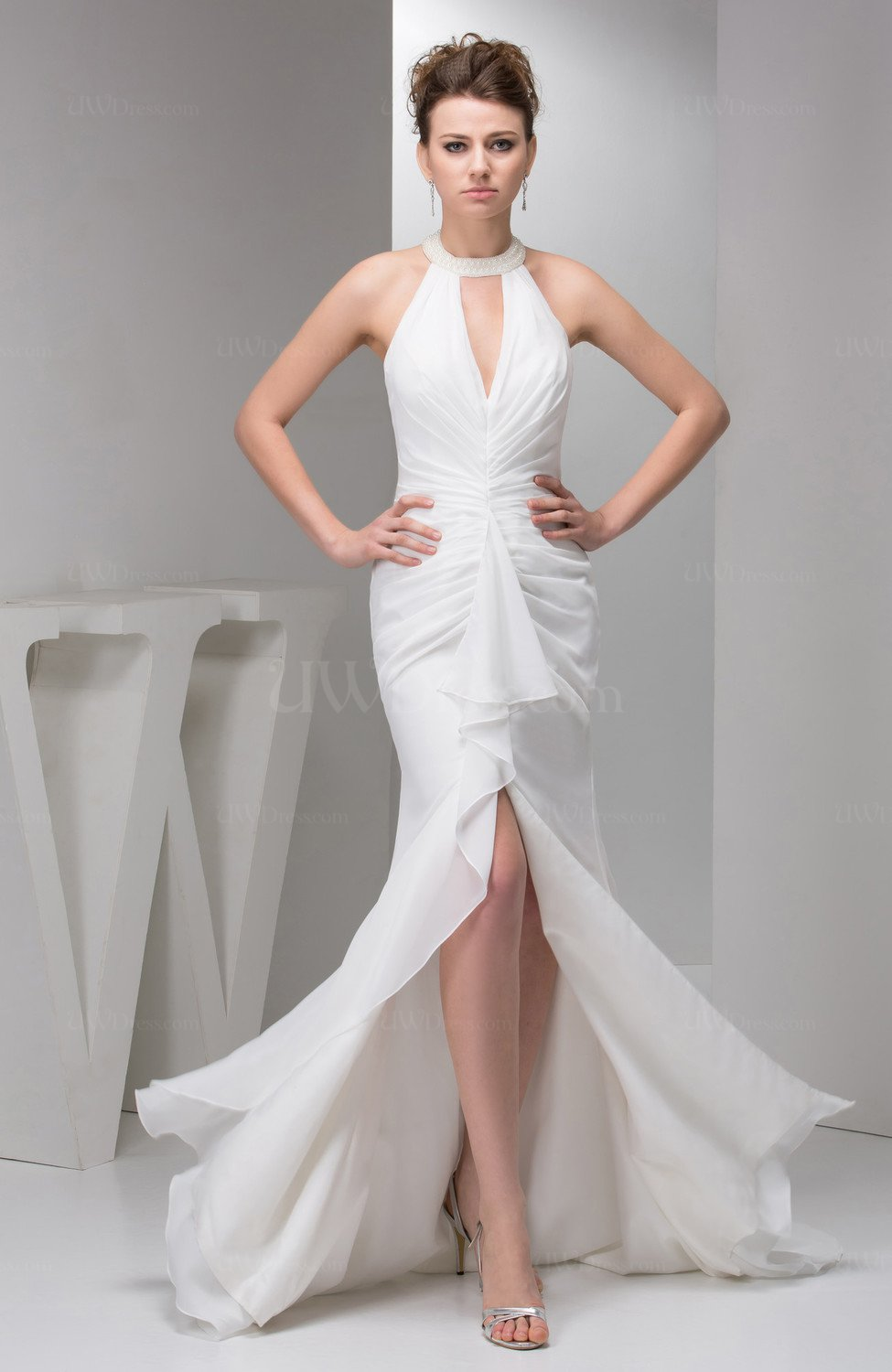 White Long Evening Dress Elegant Simple Beaded Sparkly Unique Modern Classy