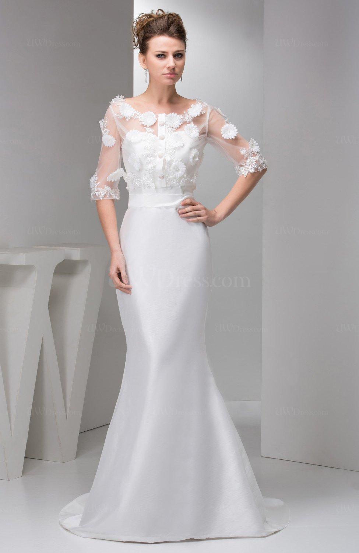 White With Sleeves Prom Dress Mermaid Luxury Sheer Summer