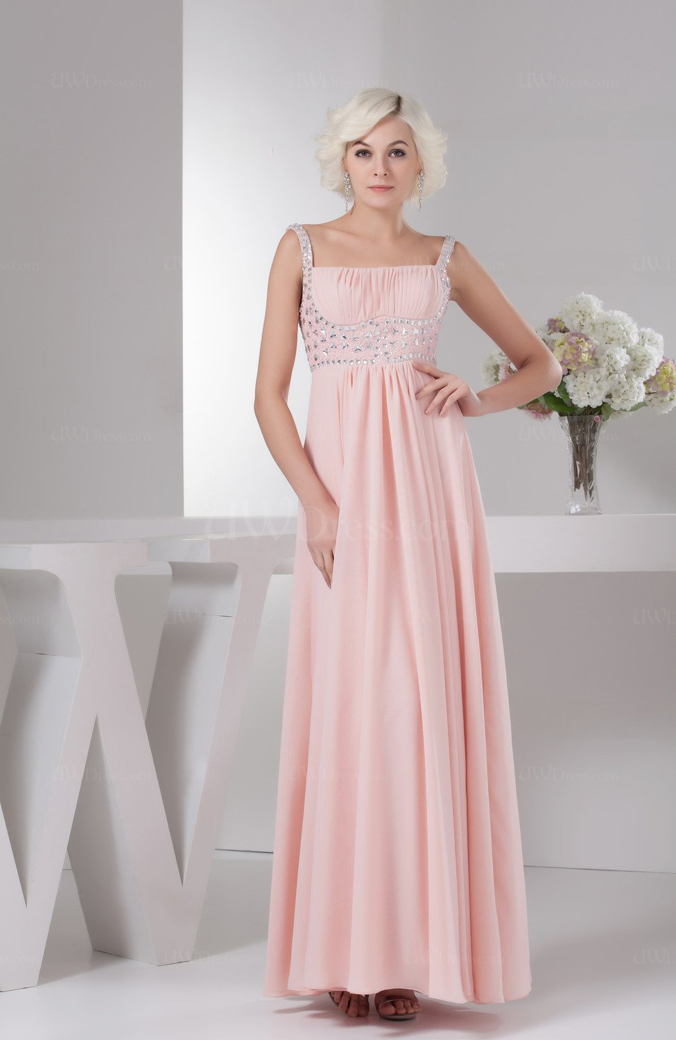 Chiffon Bridesmaid Dress Long Sparkly Spring Classy Garden