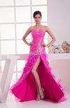 Long Prom Dress Sexy Hi Low Split Front Flower A line Classy Formal