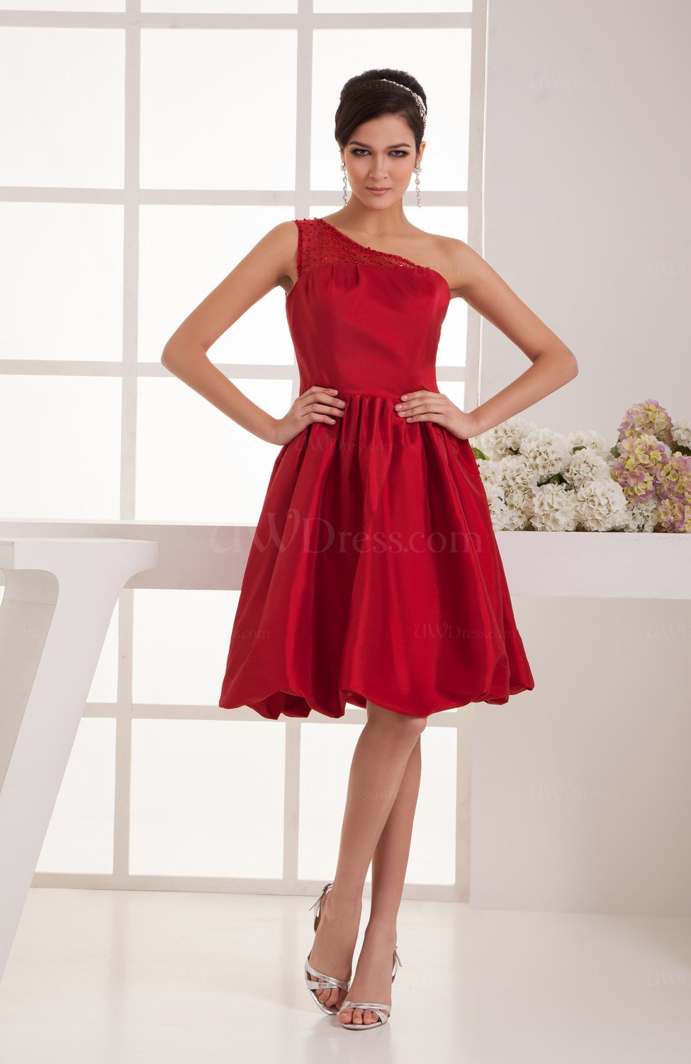 Dark Red Short Bridesmaid Dress Inexpensive Amazing ...