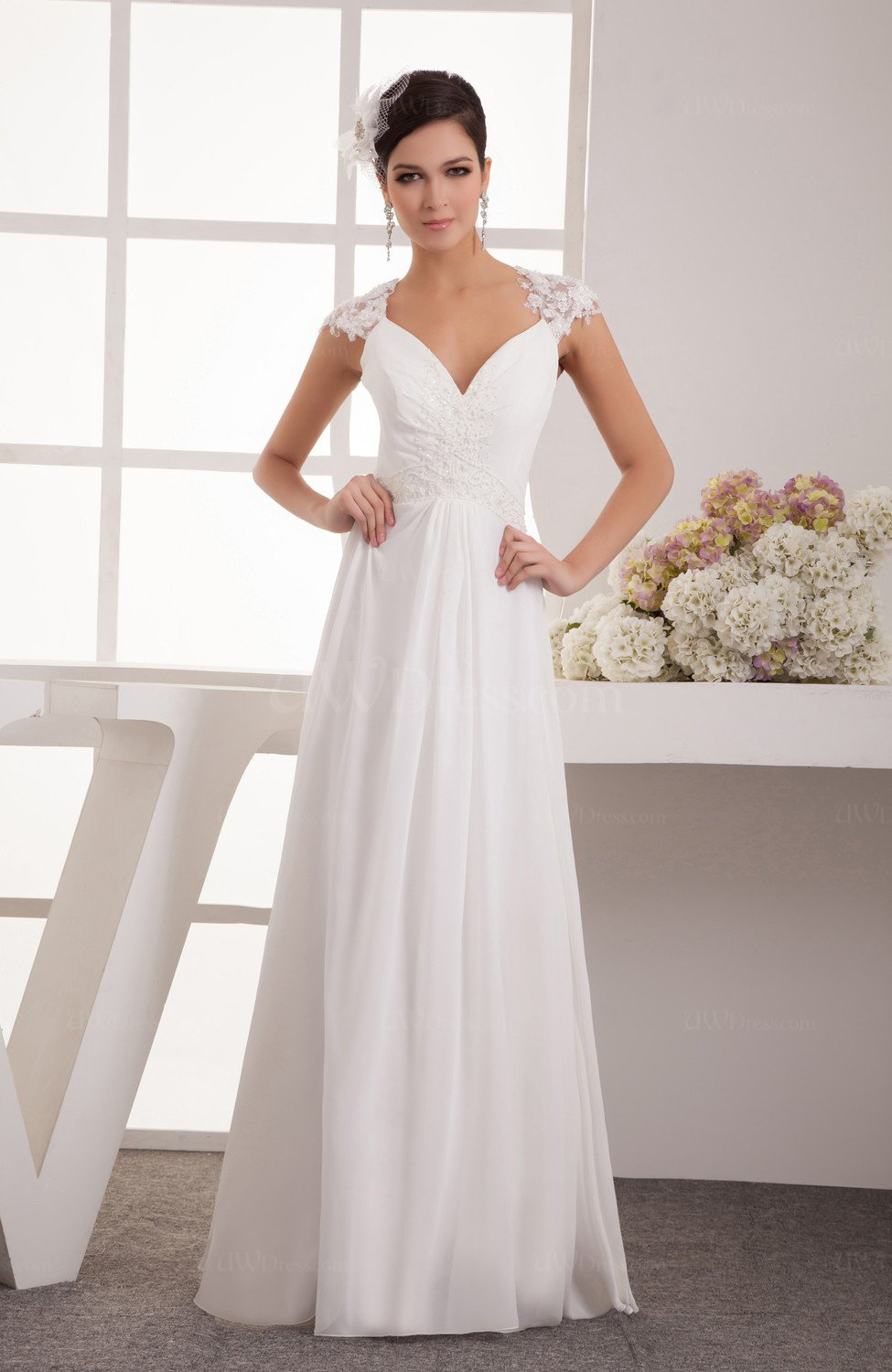 adf97a62cdc3b Lace Prom Dress with Sleeves Glamorous Formal Elegant Beaded Sparkly Spring  (Style D62808)