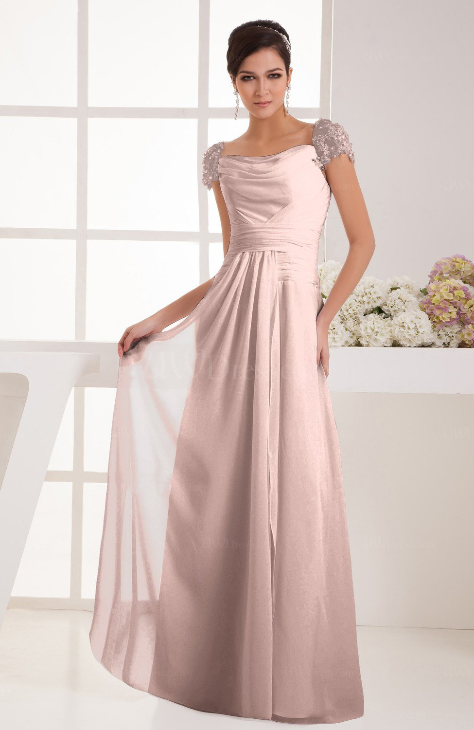 Dusty Rose With Sleeves Bridesmaid Dress Chiffon Trendy