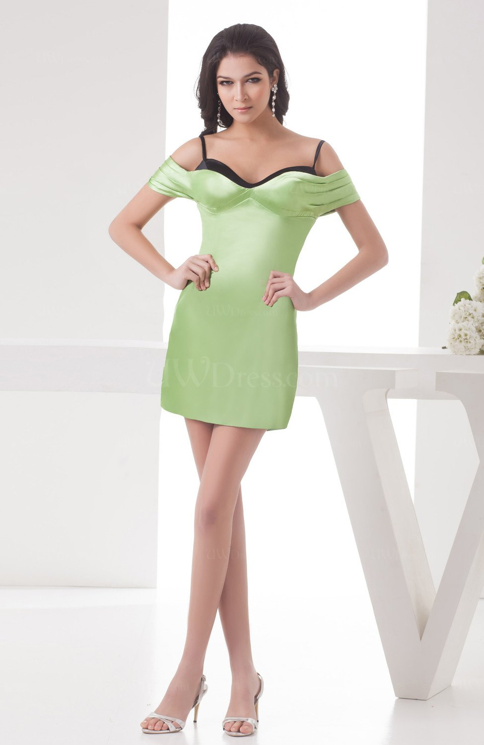 Green Oasis With Sleeves Wedding Guest Dress Casual Short Sleeve Mini Formal
