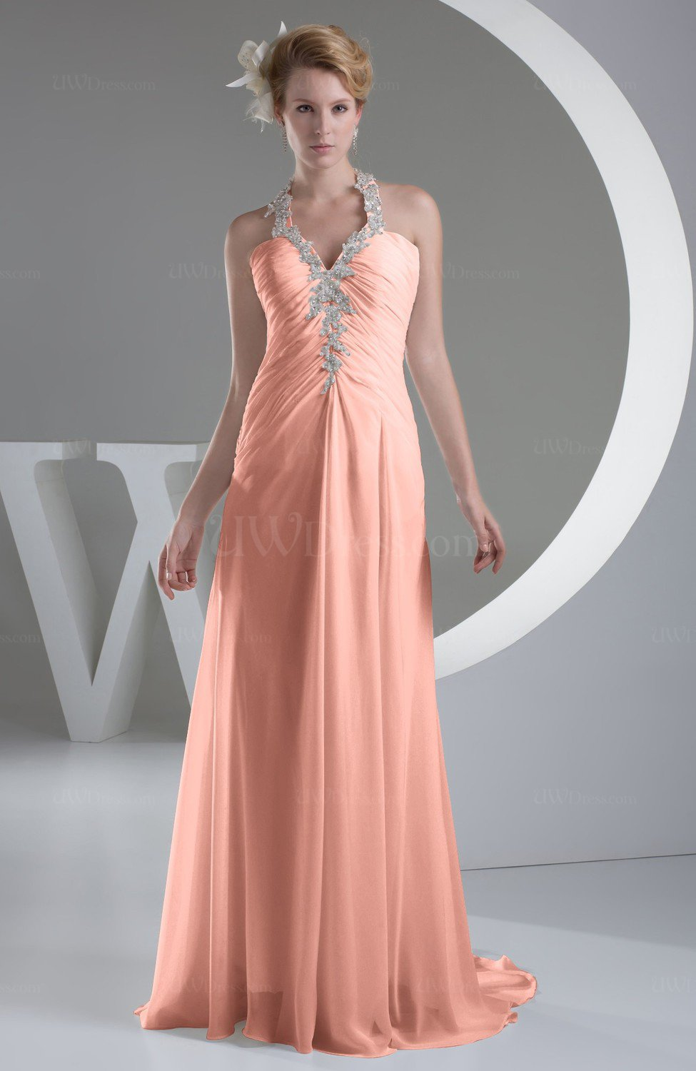Peach Chiffon Bridesmaid Dress Inexpensive Traditional