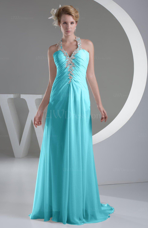 Turquoise Chiffon Bridesmaid Dress Inexpensive Traditional