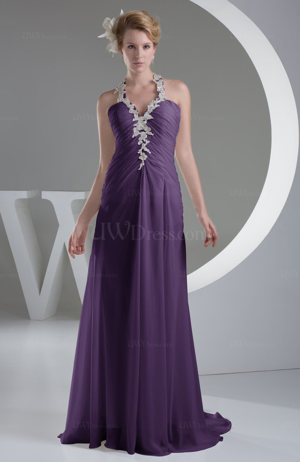 31dd182f57 Violet Chiffon Bridesmaid Dress Inexpensive Traditional Winter Mature Petite