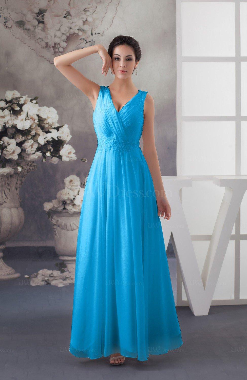 c58c575b6d41 Cornflower Blue Chiffon Bridesmaid Dress Affordable Sexy Western Allure  Sleeveless Amazing (Style D42268)